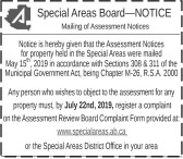Special Areas Board Mailing of Assessment Notices