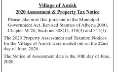 Village of Amisk 2020 Assessment & Property Tax Notice