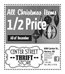 All Christmas Items 1/2 Price at Center Street Thrift Store