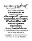 Valley Ski Hill has JOB OPPORTUNITIES