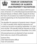 PROVINCE OF ALBERTA 2020 PROPERTY TAX NOTICES