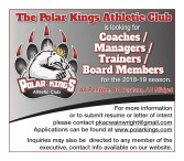 The Polar Kings Athletic Club is looking for Coaches / Managers / Trainers /