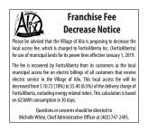Franchise Fee Decrease Notice