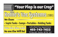 We Clean: • Septic Tanks • Sumps • Portables • Holding Tanks
