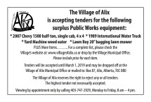 The Village of Alix is accepting tenders for the following surplus Public Works equipment