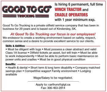 Good To Go Trucking  Is Hiring 6 Permanent, Full Time Winch Tractor And Cradle Operators