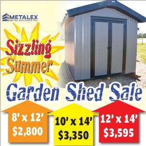 Metalex Metal Buildings Sizzling Summer Garden Shed Sale