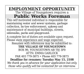 The Village of Youngstown requires a Public Works Foreman