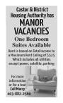 Castor & District Housing Authority has MANOR VACANCIES
