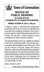 Town of Coronation NOTICE OF PUBLIC HEARING