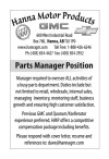 Parts Manager Position available