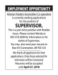 EMPLOYMENT OPPORTUNITY with  Veteran Feeders Association