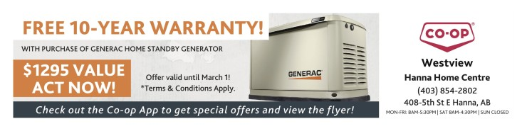 Co-op Westview Hanna Home Centre Free 10 Year Warranty!