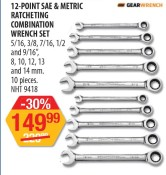 12-POINT SAE & METRIC RATCHETING COMBINATION WRENCH SET