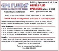 Hiring 6 permanent, full time Oilfield fluid Operators