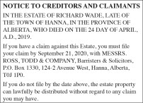NOTICE TO CREDITORS AND CLAIMANTS IN THE ESTATE OF RICHARD WADE