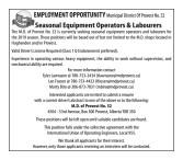 Seasonal Equipment Operators & Labourers Wanted