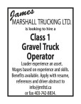 Looking to hire a Class 1 Gravel Truck Operator