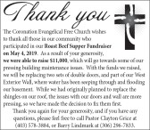 The Coronation Evangelical Free Church wishes to thank all those in our community