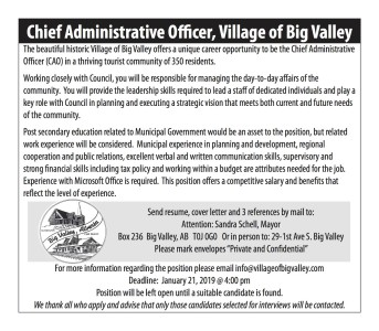Chief Administrative Officer Wanted