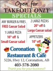 Coronation Restaurant & Cafe Open for Takeout only